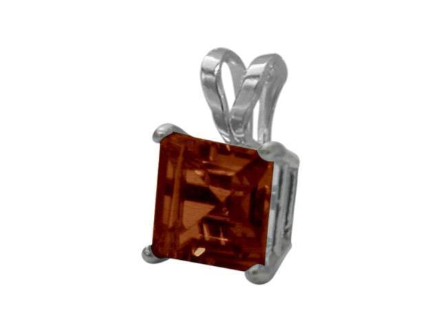 14 Karat White Gold 0.75tcw. 5mm Genuine Princess Cut Square Garnet Pendant