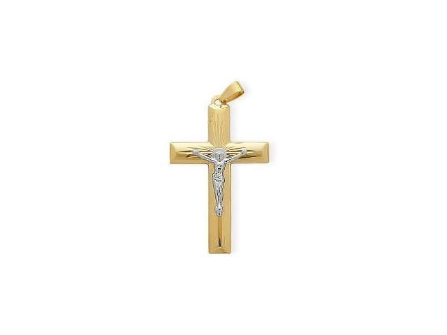 Religious Two-Tone High Polish Diamond Cut Crucifix Cross with a Chain