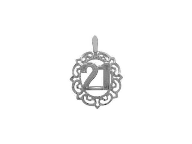 Genuine Sterling Silver Fancy #21 Circle Age Pendant with Chain