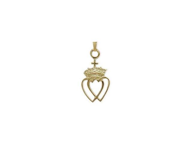 10 Karat Yellow Gold Celtic Crowned Heart Pendant with Chain
