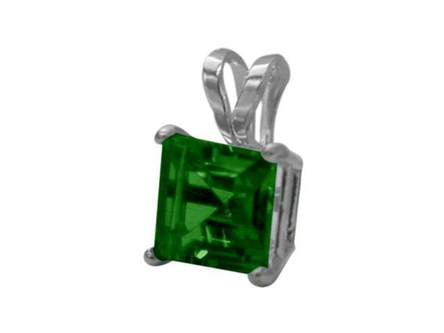 14 Karat White Gold 0.55tcw. 5mm Princess Cut Square Created Emerald Pendant