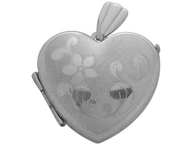 Sterling Silver Heart Shaped Locket with Diamond Cut Pattern with Chain