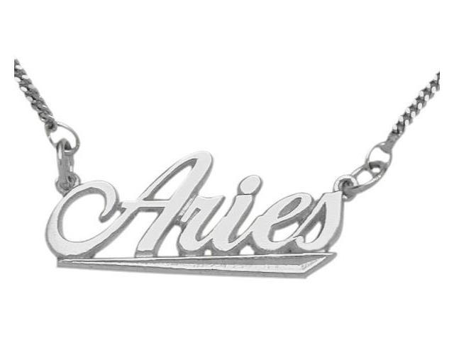 Genuine Sterling Silver Aries Script Zodiac Pendant Mar 22 - Apr 20 with Chain