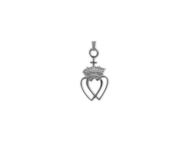 Genuine Sterling Silver Celtic Crowned Heart Pendant with an 18