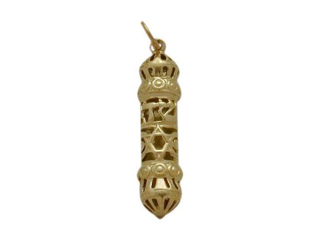 10 Karat Yellow Gold Mezuzah Jewish Pendant with Chain