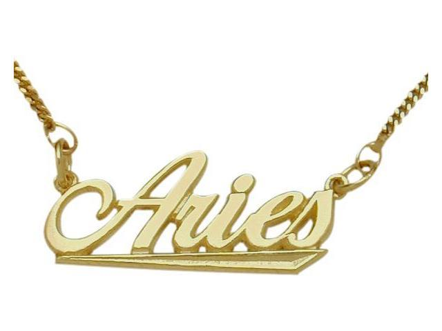10K Yellow Gold Aries Script Zodiac Pendant Mar 22 - Apr 20 with Chain