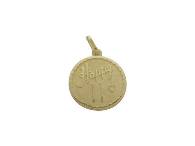 10K Yellow Gold Happy #11 Age Expression Pendant with Chain