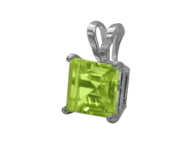 14 Karat White Gold 0.65tcw. 5mm Genuine Princess Cut Square Peridot Pendant