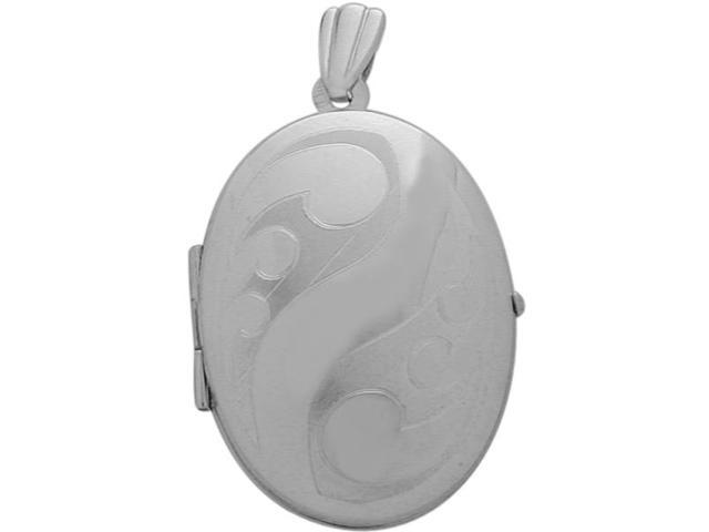 Sterling Silver Oval Locket with Diamond Cut Pattern with Chain