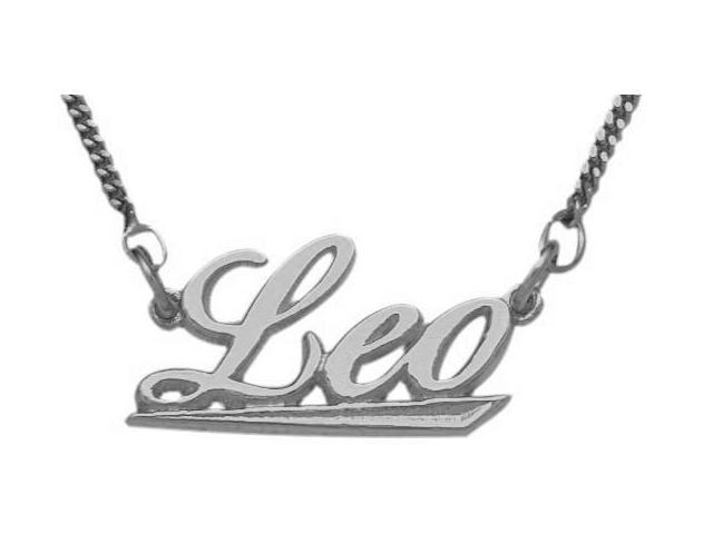 10K White Gold Leo Script Zodiac Pendant July 24 - Aug 23 with Chain