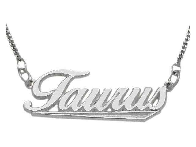 Genuine Sterling Silver Taurus Script Zodiac Pendant Apr 21 - May 21 with   chain