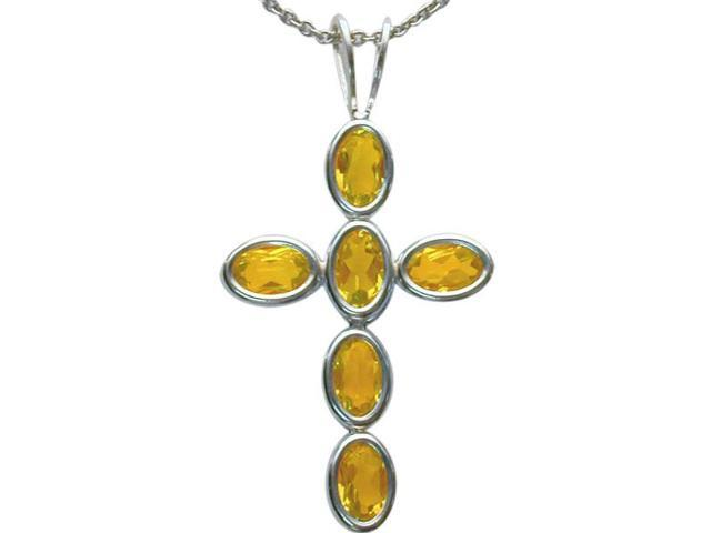 Sterling Silver Genuine Citrine Oval Cross with a chain