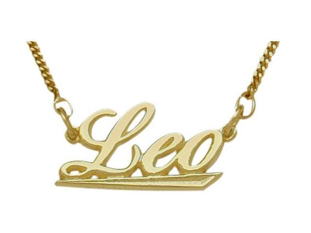10K Yellow Gold Leo Script Zodiac Pendant July 24 - Aug 23 with Chain