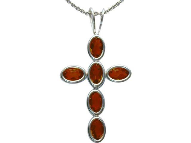 Sterling Silver Genuine Garnet Oval Cross with a chain