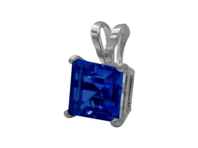 14 Karat White Gold 0.60tcw. 5mm Princess Cut Square Created Sapphire Pendant