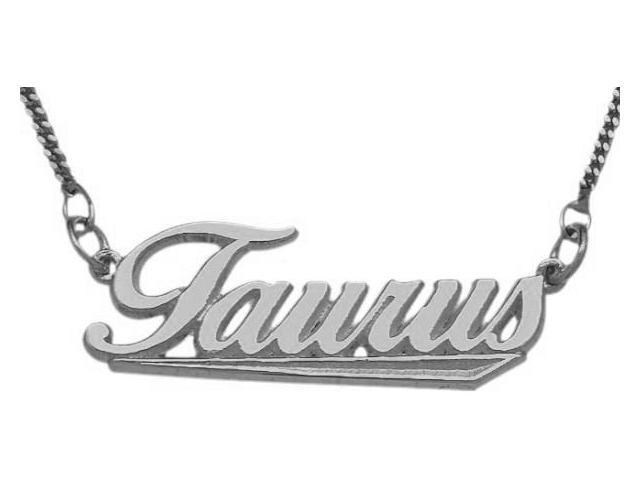 10K White Gold Taurus Script Zodiac Pendant Apr 21 - May 21 with Chain