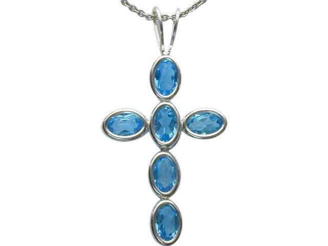 Sterling Silver Genuine Blue Topaz Oval Cross with a chain
