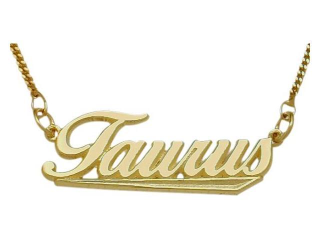10K Yellow Gold Taurus Script Zodiac Pendant Apr 21 - May 21 with Chain