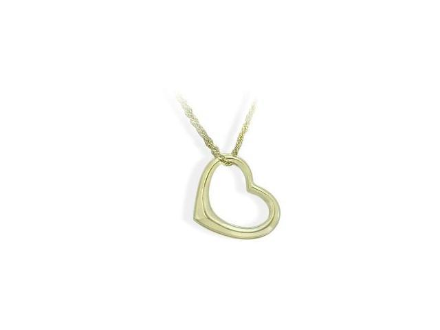 Ladies Designer 14 Karat Yellow Gold Floating Heart Pendant with Chain