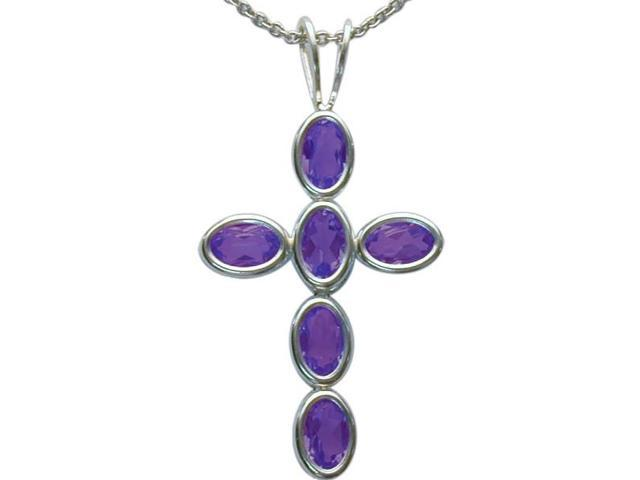 Sterling Silver Genuine Amethyst Oval Cross with a chain