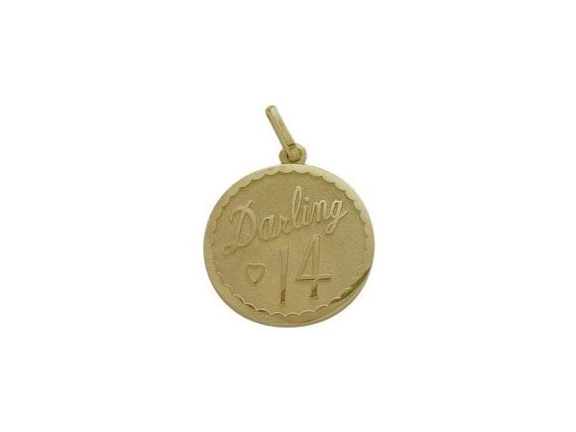 10K Yellow Gold Darling #14 Age Expression Pendant with Chain