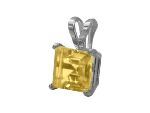 14 Karat White Gold 0.60tcw. 5mm Genuine Princess Cut Square Citrine Pendant
