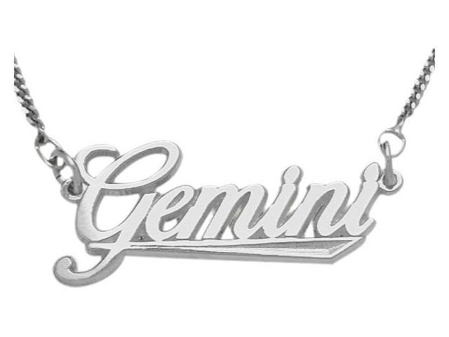 Genuine Sterling Silver Gemini Script Zodiac Pendant May 22 - June 22 with Chain