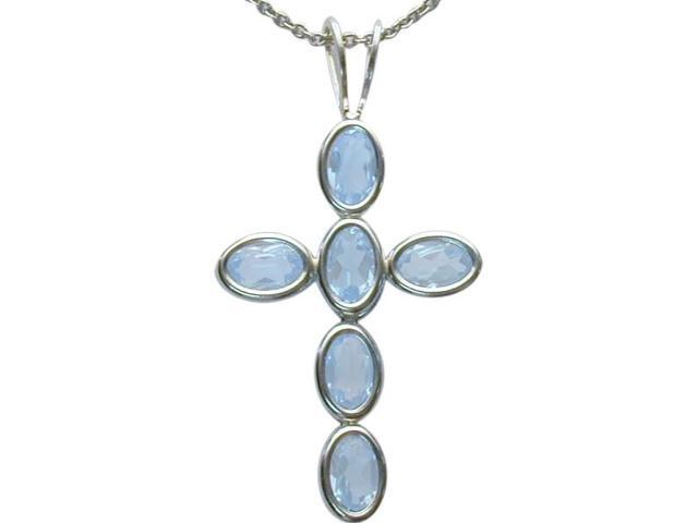 Sterling Silver Created Aquamarine Oval Cross with a chain