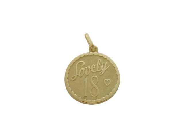 10K Yellow Gold Lovely #18 Age Expression Pendant with Chain