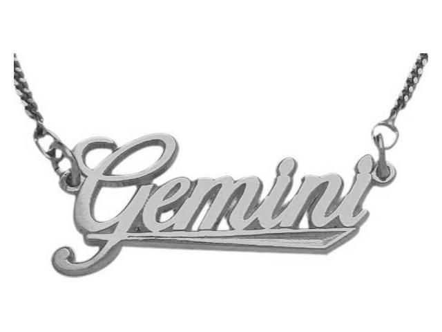 10K White Gold Gemini Script Zodiac Pendant May 22 - June 22 with Chain