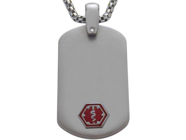 Titanium Engravable Dog Tag Medical Pendant with Chain