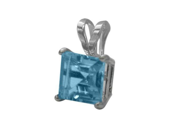 14 Karat White Gold 0.75tcw. 5mm Genuine Princess Cut Square Blue Topaz Pendant