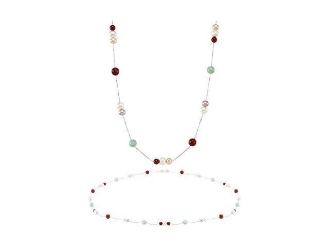Genuine Sterling Silver Multi Color Pearl and Jade 36 Inch Necklace