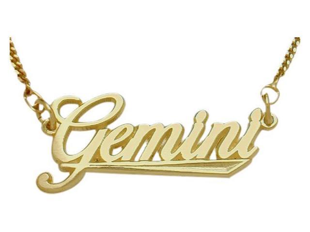 10K Yellow Gold Gemini Script Zodiac Pendant May 22 - June 22 with Chain