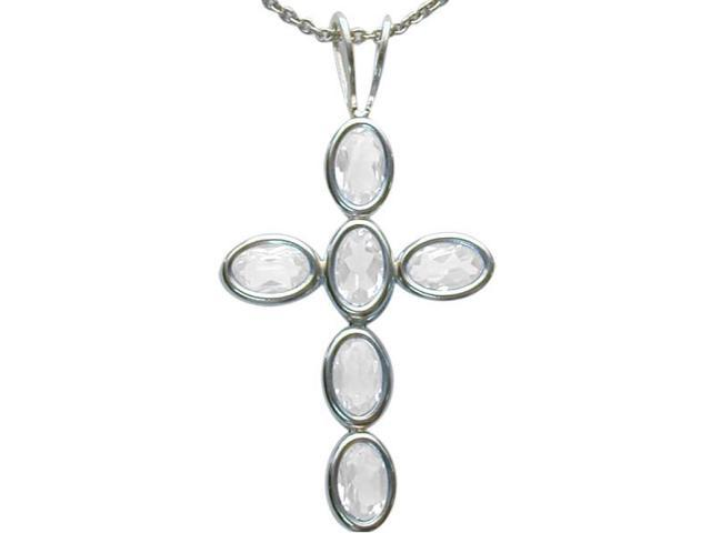 Sterling Silver Genuine White Topaz Oval Cross with a chain