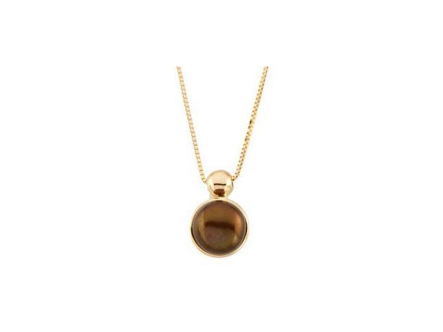 14 Karat Yellow Gold Chocolate Pearl Pendant with a chain
