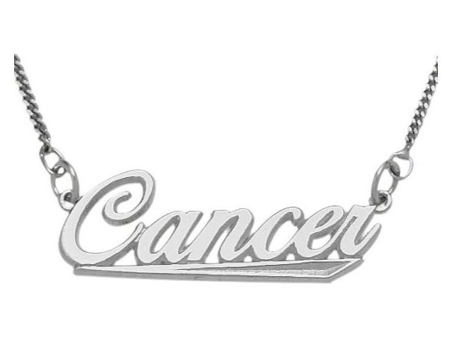 Genuine Sterling Silver Cancer Script Zodiac Pendant June 23 - July 23 with Chain