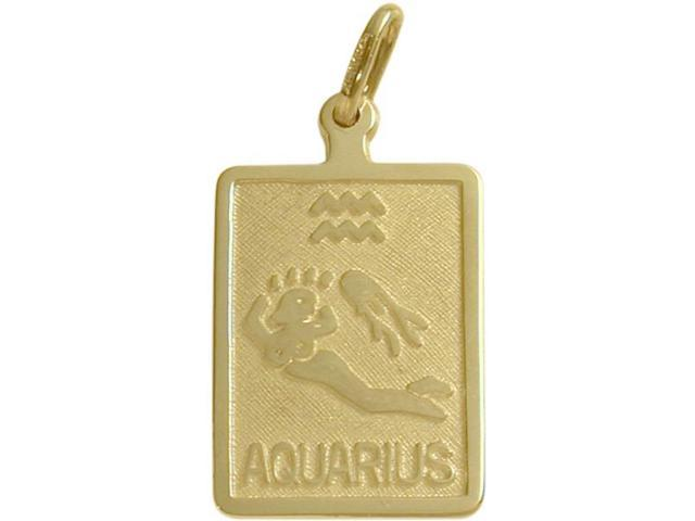 14 Karat Yellow Gold Aquarius Zodiac Pendant with Chain