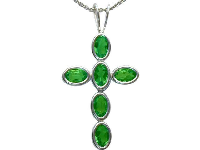Sterling Silver Created Emerald Oval Cross with a chain