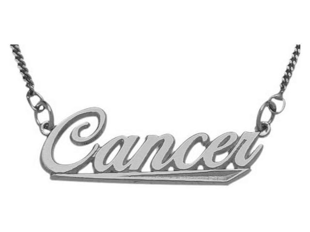 10K White Gold Cancer Script Zodiac Pendant June 23-July 23 with Chain