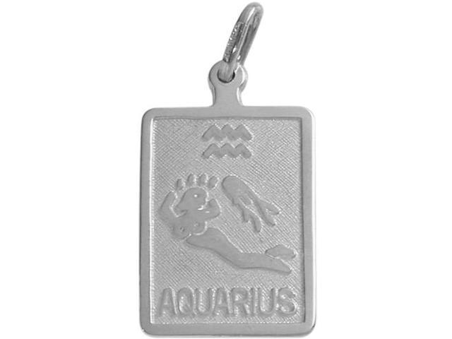 14 Karat White Gold Aquarius Zodiac Pendant with Chain
