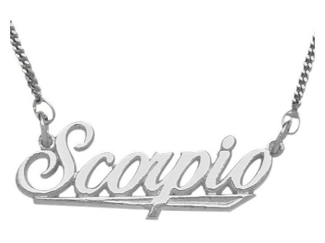 Genuine Sterling Silver Scorpio Script Zodiac Pendant Oct 24 - Nov 22 with Chain