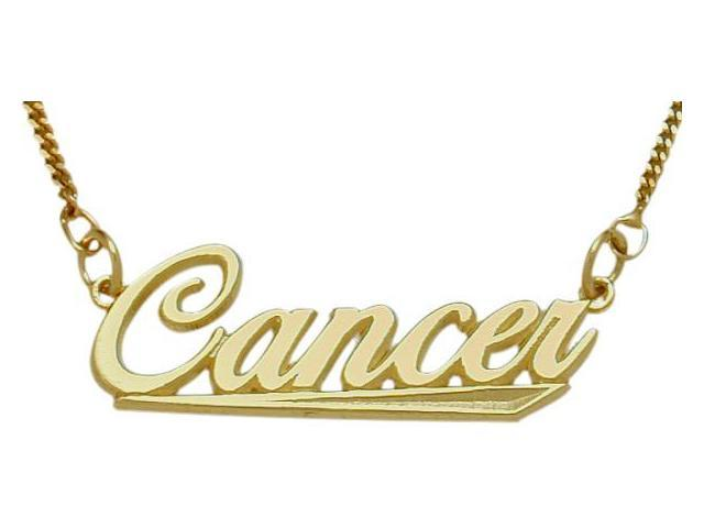 10K Yellow Gold Cancer Script Zodiac Pendant June 23-July 23 with Chain