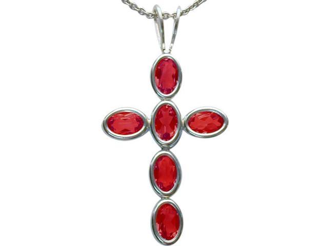 Sterling Silver Created Ruby Oval Cross with a chain