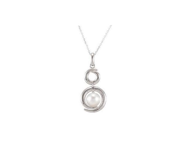 Genuine Sterling Silver White Pearl Pendant with a chain