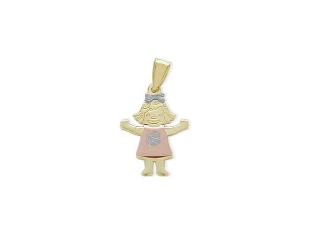 10 Karat Tri-Color Gold 'GIRL' Pendant with Chain