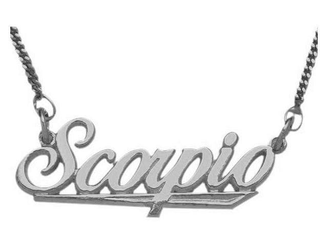 10K White Gold Scorpio Script Zodiac Pendant Oct 24 - Nov 22 with Chain