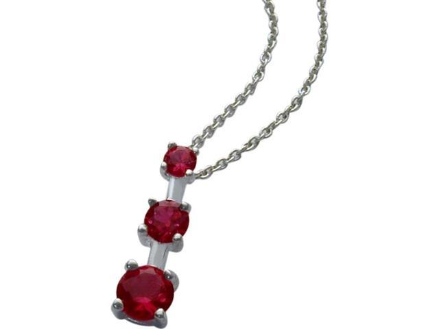 Genuine Sterling Silver Created Ruby Past Present Future Pendant with a chain