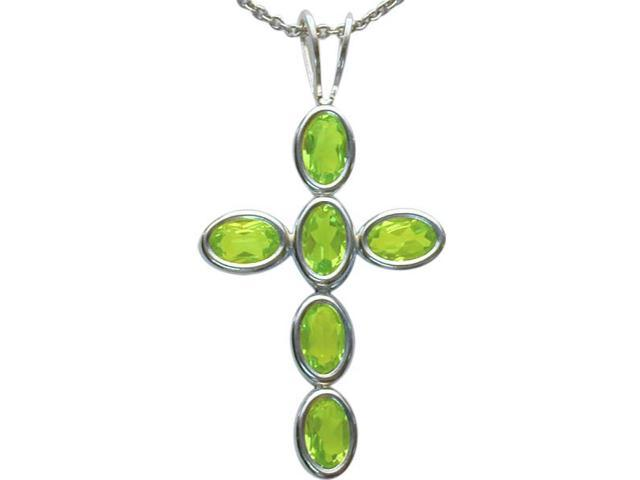 Sterling Silver Genuine Peridot Oval Cross with a chain