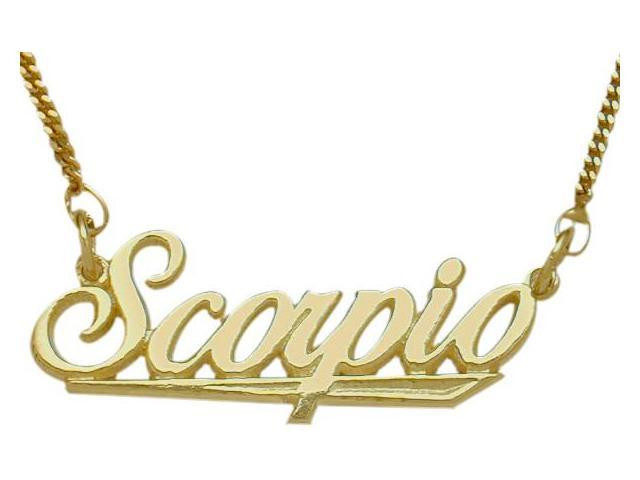 10K Yellow Gold Scorpio Script Zodiac Pendant Oct 24 - Nov 22 with Chain
